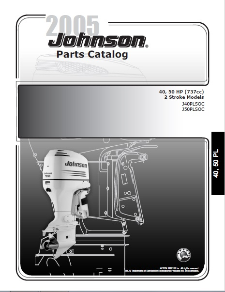 2005 Johnson Evinrude 40 50HP 2 Stroke Parts Catalog Manual DOWNLOAD